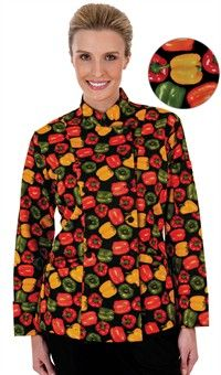 Women's Traditional Fit Pepper Fusion Print Chef Coat - Fabric Covered Buttons - 100% Cotton Twill Style # 83013PPF #chefuniforms #womensclothing #womenschefwear #chef #women #peppers #print #fashion #style