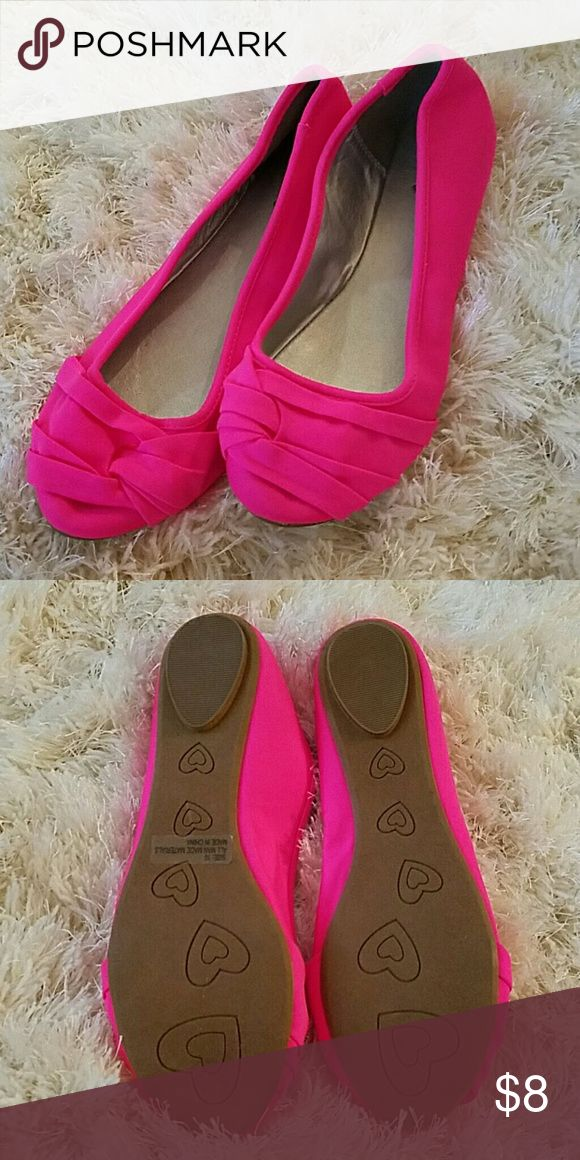 Pink Neon Flats NWOT! PERFECT COLOR FOR SPRING♡ Qupid Shoes Flats & Loafers