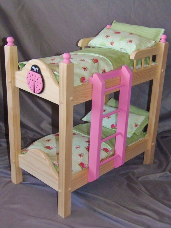 Doll Bunk Bed With Adorable Lady Bug Bedding Perfect For The