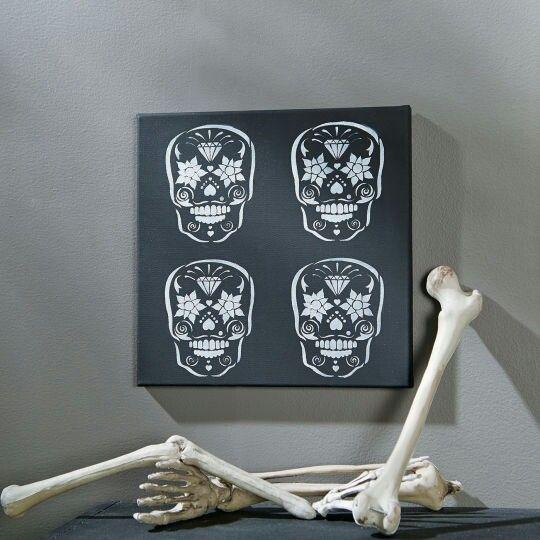 Skull stencil canvas | Crafts | Pinterest | Skulls ...