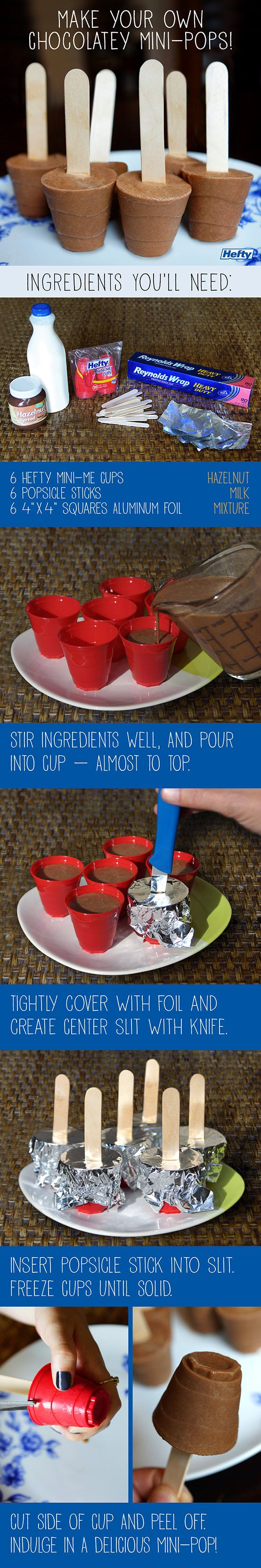 Make your own Chocolaty Mini-Pops – all you need for easy homemade ice pops are Hefty® Mini-Me Cups, Reynolds® Aluminum Foil and wood sticks!