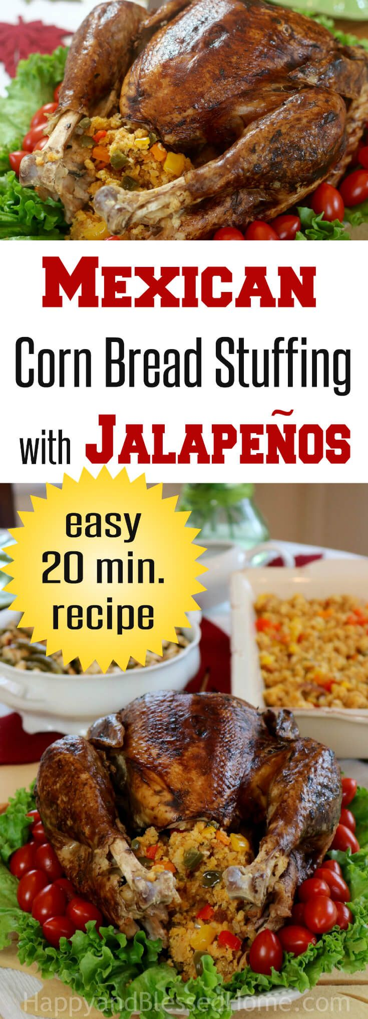Mexican Corn Bread Stuffing with Jalapeños Recipe - Perfect for Thanksgiving dinner. This recipe combines the flavors of jalapeños with corn, onions, and bell peppers. A hearty vegetable inspired combination that pairs perfectly with ham or turkey, Why not celebrate with Mexican inspired flavors over the holidays this year? Add this to your dinner recipes for the holidays and make happy mealtime memories. Ad