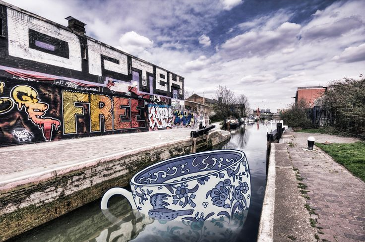Travels in a Tea Cup (Hackney Wick)  --  Surreal illustration on urban landscapes.  Photo by Nicholas Goodden -  London © 2010 – 2017 | Cecile Vidican. All rights reserved.
