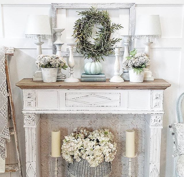 Antique Farmhouse On Instagram Shebuildsglamfarm Hello There Pretty Decor Our Fireplace Wa In 2020 Fireplace Mantel Decor Fireplace Mantle Decor Farmhouse Mantle