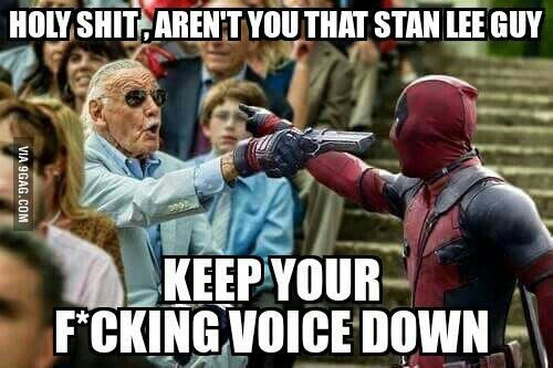 Since Deadpool always breaks the fourth wall this is probably how the Deadpool Stan Lee cameo works out ...