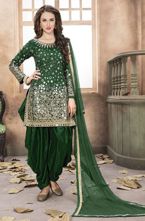 0748ac0b15 Extreme Real Mirror Work Party Wear Dark Green Color Patiyala Suit ...