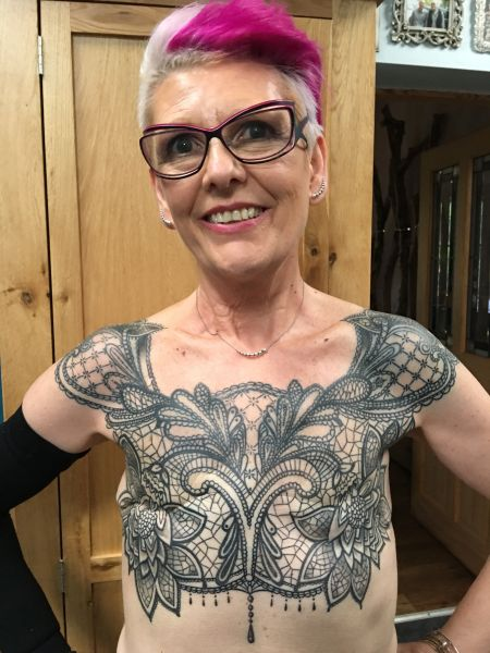 Woman Celebrates Five Years in Remission with Tattoo Over Double Mastectomy Scar