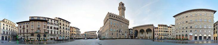 Piazza della Signoria is an L-shaped square in front of the Palazzo Vecchio