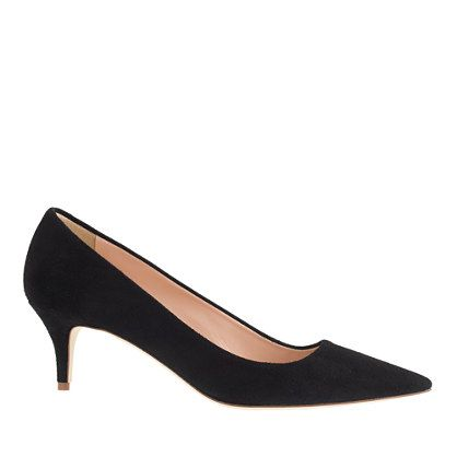 """J.Crew - Dulci suede kitten heels $198 Based on an iconic style from the '50s, these kitten heels are sweet and sultry with a just-right (read: totally walkable) height. They're basically flats masquerading as heels. 2 1/4"""" heel. Suede upper. Leather lining. Made in Italy."""