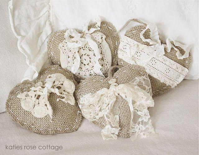 Katies Rose Cottage: Burlap Hearts ... Vintage Embellished