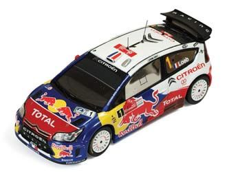 This Citroen C4 (Sebastien Loeb - Red Bull Winner Mexico WRC 2010) Diecast Model Car is Blue and White and features working wheels. It is made by IXO and is 1:43 scale (approx. 9cm / 3.5in long).  ...