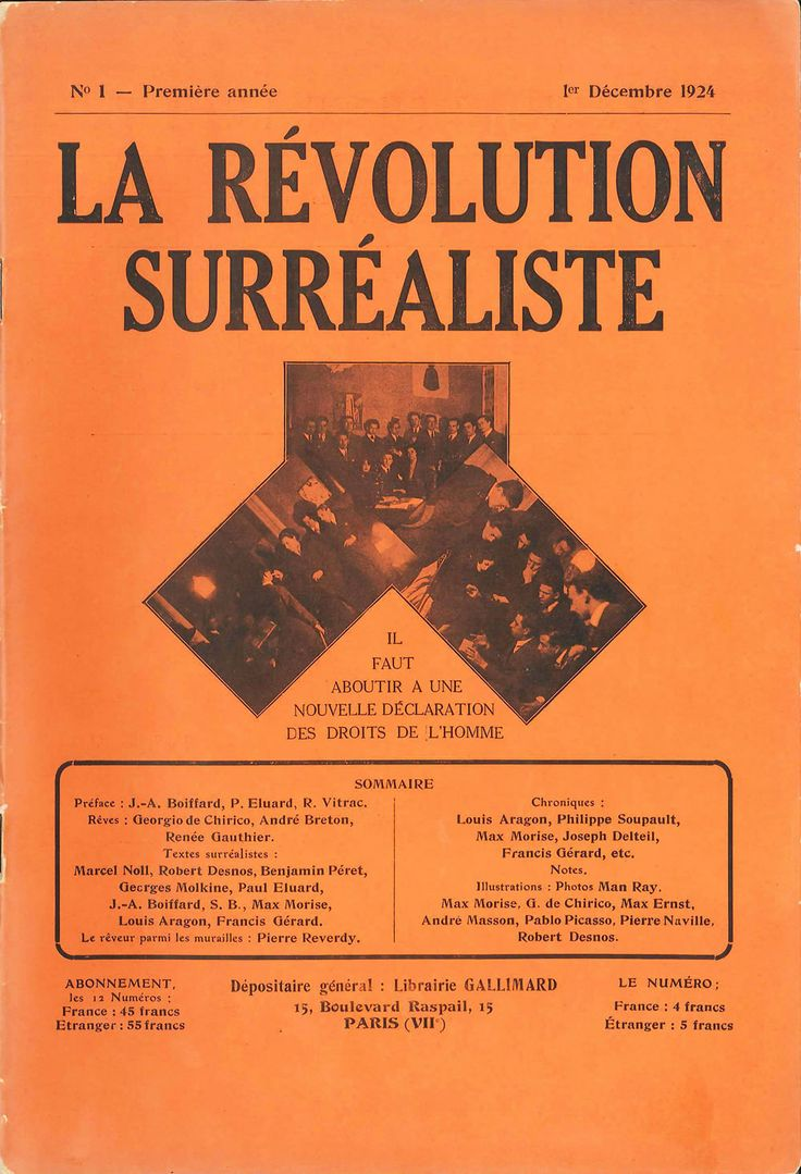 Front cover of the first issue of La Révolution surréaliste, a journal published by the Surrealist group in Paris, 1 December 1924
