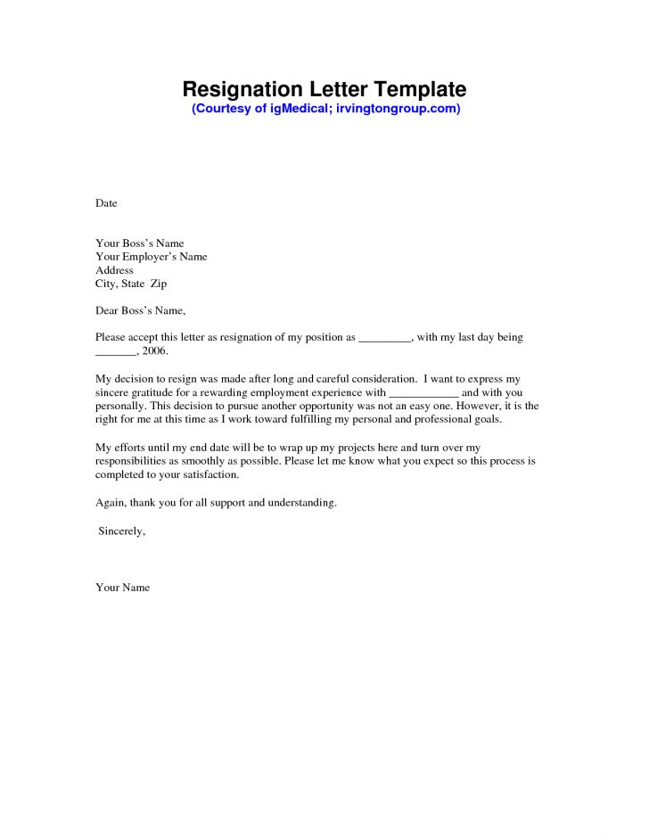 Resignation Resignation Letter Template Working Volumetrics