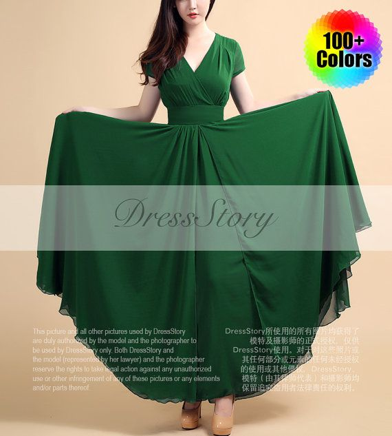Forest Green Maxi Dress with V Neck and Cap Sleeves door DressStory