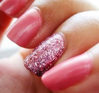 sparkly accent nail, same color as the rest, or a different shade of the same color