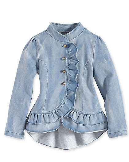 girls ruffle denim jacket #ruffles