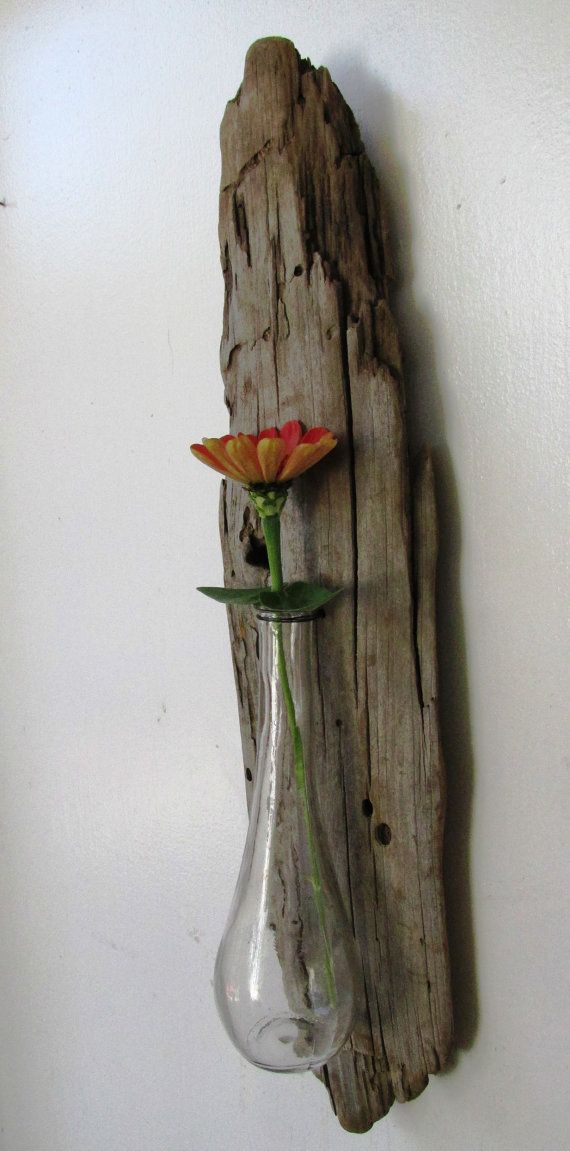 Driftwood, Reclaimed Wood Vase, Rustic Home Decor, Glass Vase, Gift, Beach Home Decor (Made to Order)
