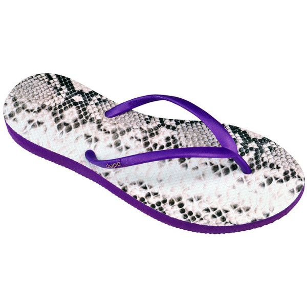 Dupe Flip-flops - Dupe Exotica Purple ($17) ❤ liked on Polyvore featuring shoes, sandals, flip flops, purple, animal shoes, rubber sandals, purple flip flops, purple sandals and sandals flip flops
