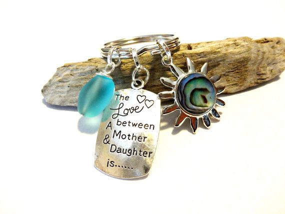 Mother Daughter Keychain Abalone Shell Sun Keychain by YoursTrulli