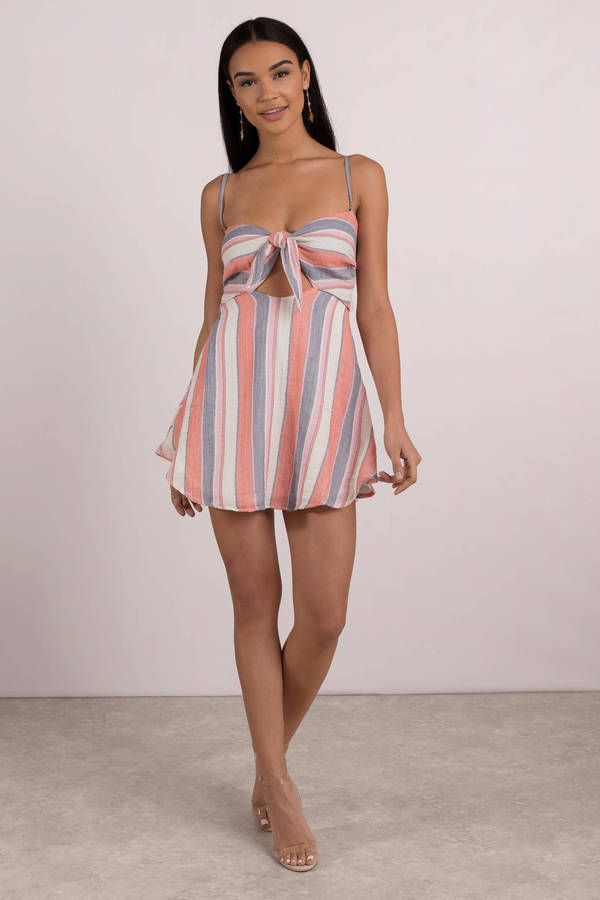 e77e7af4e6 Looking for the Beach Riot Taylor Pink Multi Front Tie Dress