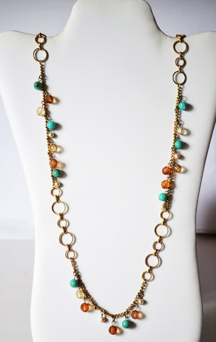 Chain Necklaces Gold plated, Beads Hoops 47 cm Necklet Jewelry for women #NK 15 by eventsmatters on Etsy