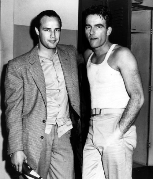 "Movie stars Marlon Brando and Montgomery Clift; for awhile they were ""an item."" They were both born in Omaha, Nebraska."