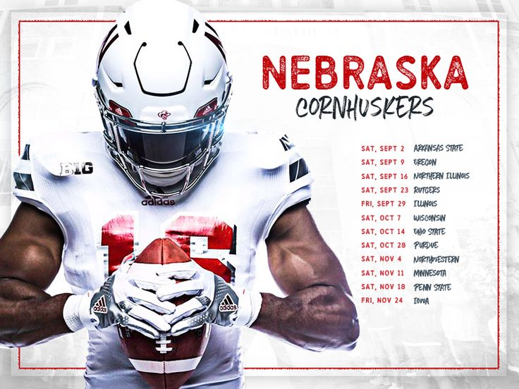 Huskers schedule card. #poster #athletics #huskers #collegefootball #posters #sports #sportsbranding