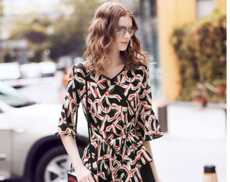 100%Silk Black Blouse Women Fashion Printed Orange Shirt V-Neck Business Tops High Quality Lady's Clothing Free Shipping