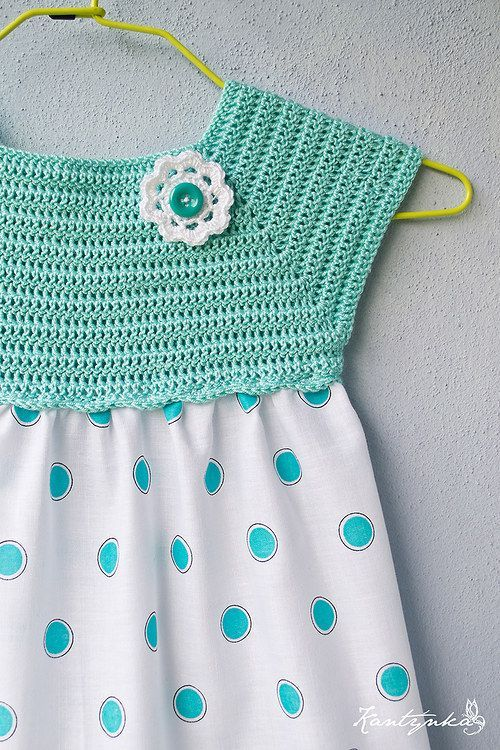 "Dívčí šatičky sladce tyrkysové / Zboží prodejce Kantýnka | Fler.cz [ ""crochet and sewing dress No pattern - she sells finished product only"", ""Dívčí šatičky sladce tyrkysové & Zboží prodejce Kantýnka 
