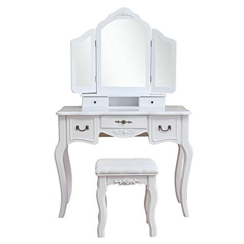 Goujxcy Dressing Table Tri Folding Necklace Hooked Mirror 4 Drawers 5 Organizers Makeup Dressing Table Wit White Wood Vanity Makeup Dressing Table Vanity Set