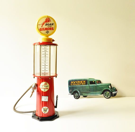 This rare find is a very cool antique style gas pump beverage dispenser with lighted top. Such a fun addition to your bar! Also great gift for car enthusiasts.  It is approximately 54 cm / 21 high. The serial number is No 87-030865. The battery operated sign on the top works with 2 AA batteries. We havent tested it with drink so it is being sold for display purposes.  - - - - - - - - - - - - - - - - - - - - - - - - - - - - - - - - - - - - - - - - - - - - - - - - - - - - - - - -  Please t...
