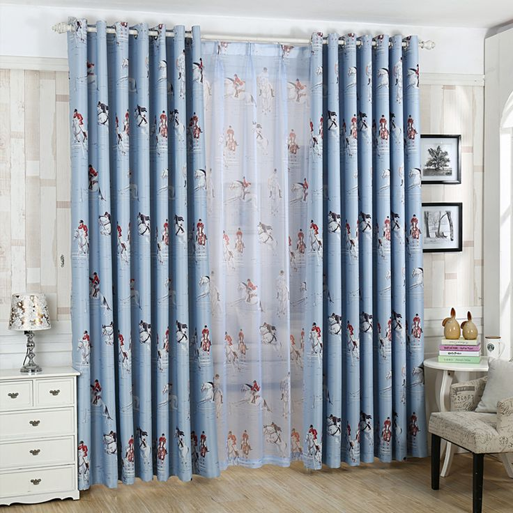 Cartoon Mediterranean Blackout Curtains for Living Room Bedroom Home Decor Kids Child Room Window Curtains Panel Curtain Drapes #Affiliate