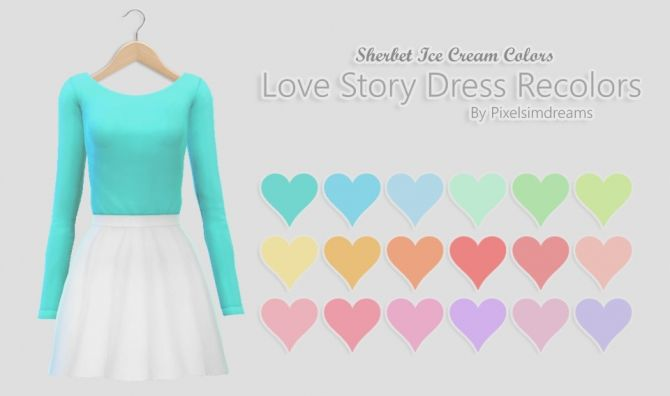 Love Story Dress Recolors at Pixelsimdreams via Sims 4 Updates