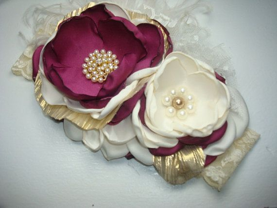 Gorgeous Burgandy and IvoryGirl Flower Headband by lepetitejardin