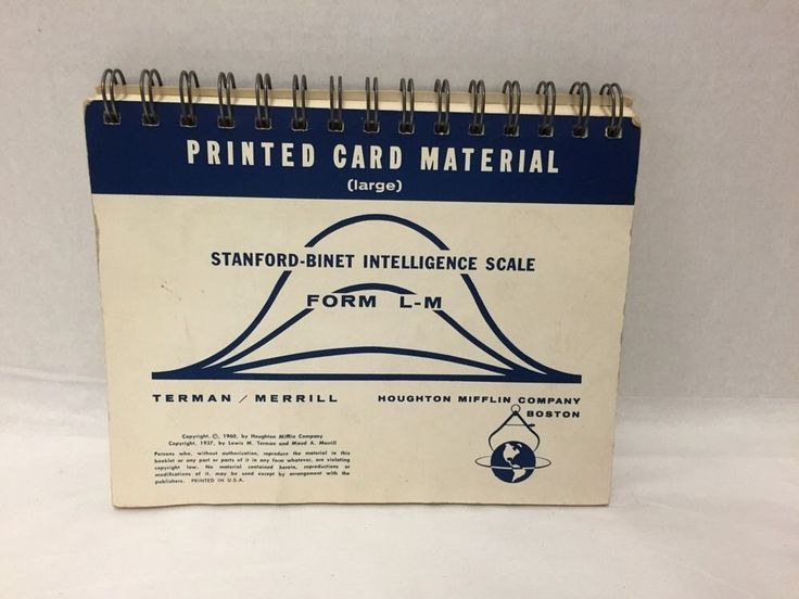 1960 Stanford Binet Intelligence Scale From L-M IQ Test Book Printed Cards