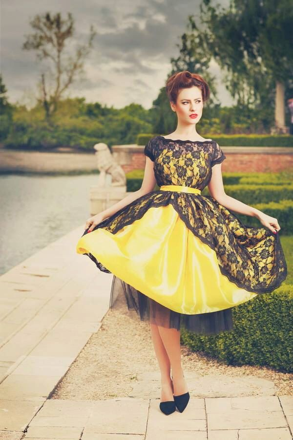 Bridesmaid dress, Bridesmaid yellow dress tulle, vintage dress 1950, Vintage Tea Length Lace Dress by DyStyle on Etsy https://www.etsy.com/listing/185741353/bridesmaid-dress-bridesmaid-yellow-dress