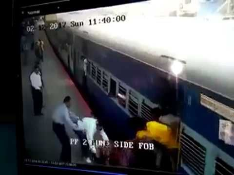 Girl saved from falling in gap between train and platform | firefighting