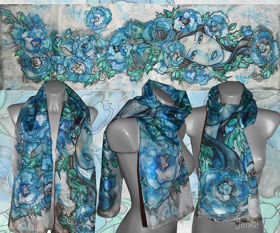Blue flower elven princess  Large handpainted silk scarf