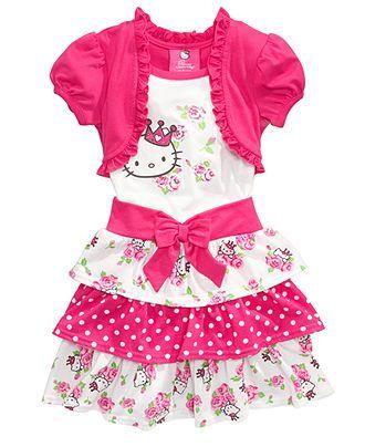 Hello Kitty Kids Dress, Little Girls Tiered Skirt Dress with Attached Shrug - Kids - Macy's