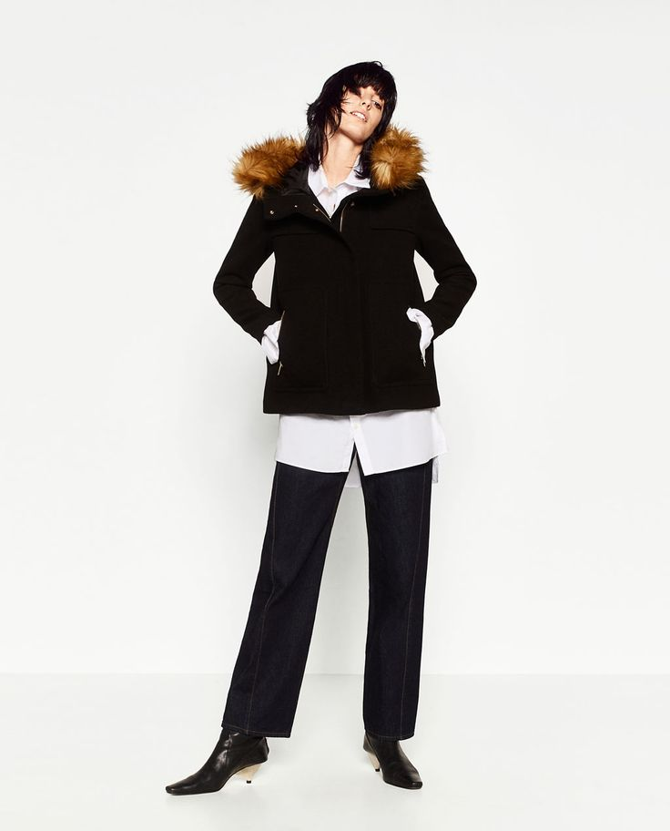Image 1 of COAT WITH FAUX FUR HOOD from Zara