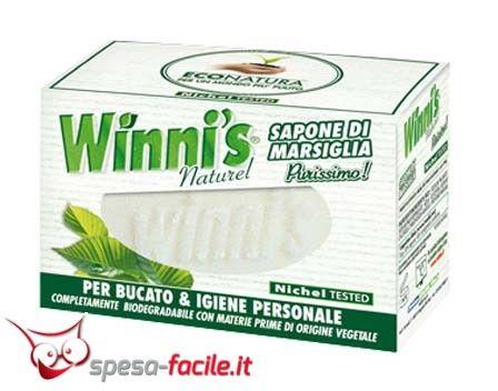€ 1,55  WINNI'S SAPONE MARSIGLIA 250GR. Il sapone di Marsiglia Winni's contiene solo puro sapone vegetale al gradevole profumo di Marsiglia, senza allergeni né sostanze inquinanti. E' ideale sia per il tuo bucato che per la tua igiene personale.