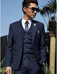 Tuxedos Tailored Fit Peak One-Button Cotton/Polyester Stripes 3 Pieces Dark Blue