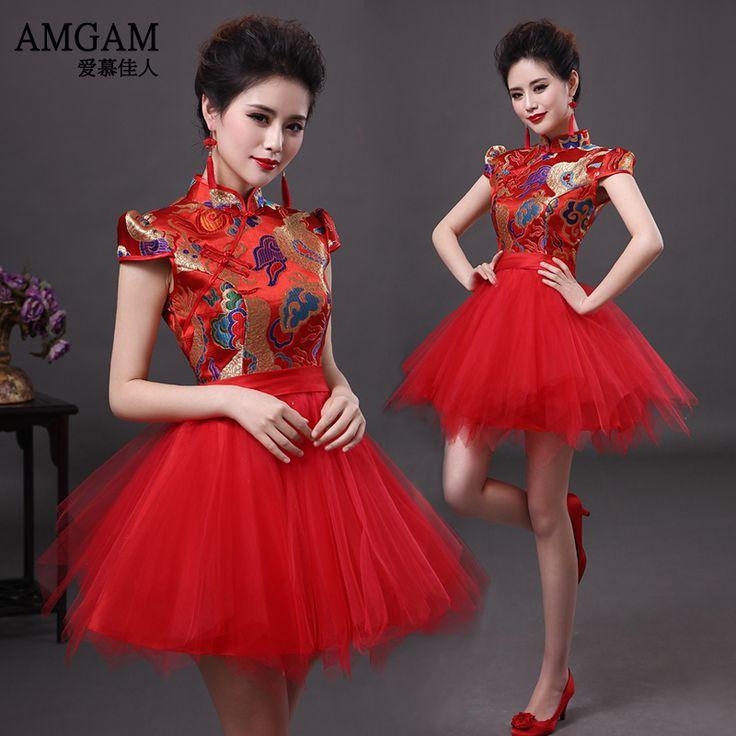 Amgam robes chinoises mariage de style robe de soirée robe cheongsam mode conception rouge courte mariée