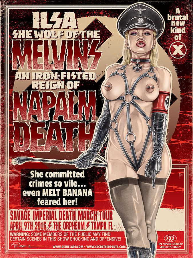 "The Melvins, Napalm Death and Melt Banana 18"" x 24"" silkscreen poster. Based on Ilas, She Wolf of The SS. ©2016 Greg Reinel #melvins #gigposter #rockposter #gregreinel #pinup #grindhouse"