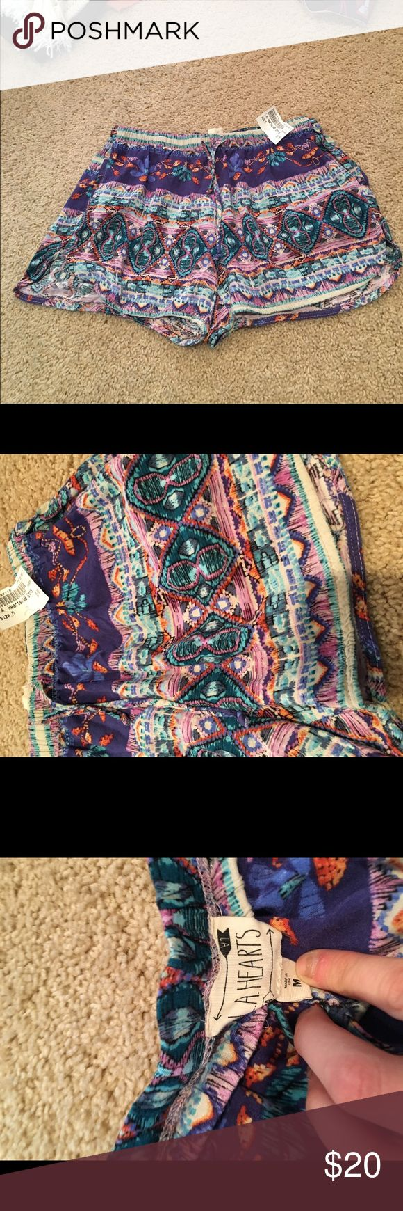 Purple and pink tribal shorts never worn Purple and pink tribal shorts never worn La Hearts Shorts