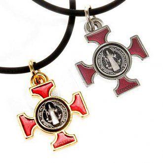 Collana croce San Benedetto celtica rossa 2.5x2x5 | vendita online su HOLYART