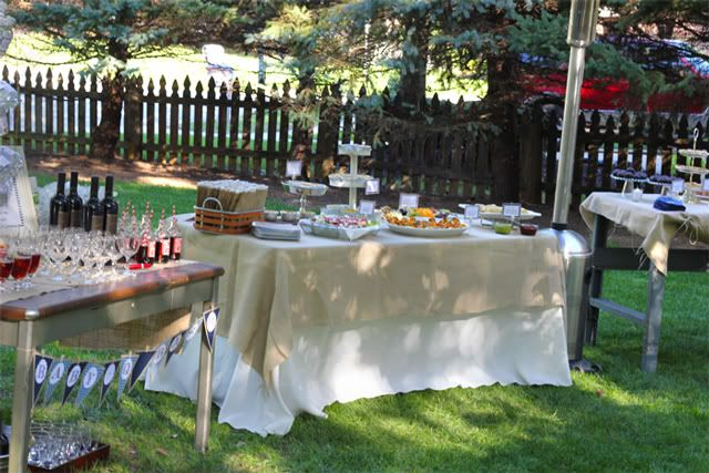 Instead of the same ole baby shower how about a  Backyard Baby-Q Bash Have a main table with all hors d'oeuvres, a beverage table, dessert table and a gourmet burger station. There were also two large cocktail tables with hummus and pita chips.    Backyard Baby-Q Bash