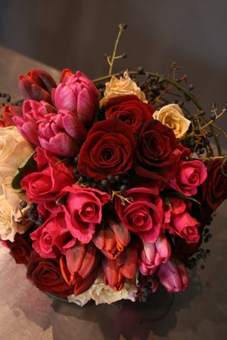 Roses, double tulips and vine