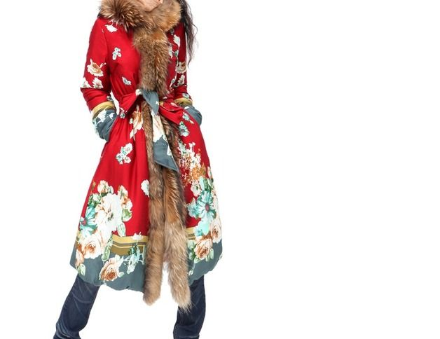 Manteaux longs, manteau flaural éthnique avec col fourrure est une création orginale de cz828 sur DaWanda