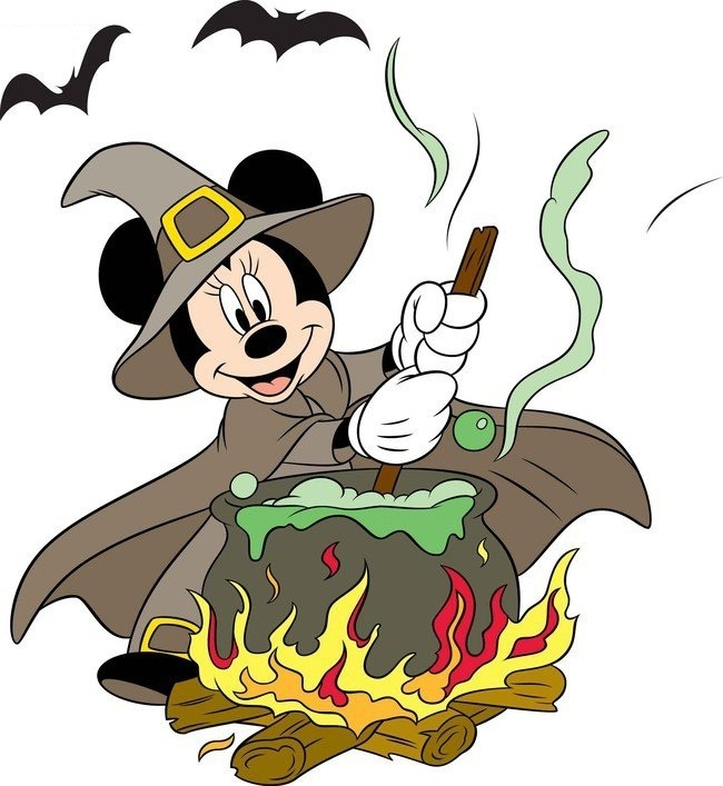 Witch Minnie stirring things up in a cauldron.